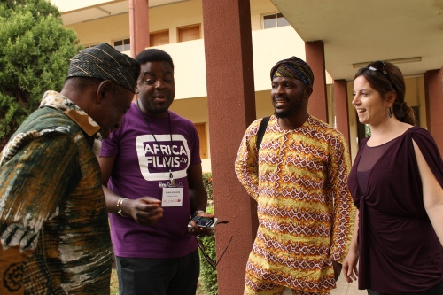 (R-L) Tunde Kelani, Kunle Afolayan, Jamiu Shoyode, Aimee Corrigan meeting outside the classrooms of Nollywood UP.