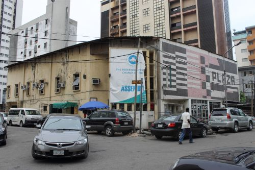 Plaza Cinema's two faces: today an RCCG, once the center of modern urban leisure in Lagos. Photo © Connor Ryan